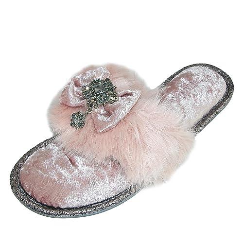 Pretty You Zapatillas de Vestir de Londres con Detalle de Lazo y Piel sintética para Mujer Pequeño (5-6) Rosa: Amazon.es: Zapatos y complementos