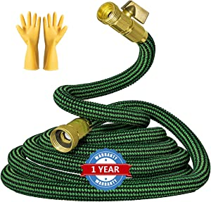 SIDEFACE Expandable Garden Hose 25 ft + 5ft (30ft) 3 Layers Latex Core Durable Leakproof Water Hose,3 Times Expandable Flexible Hose with Aluminum-Magnesium Alloy Fittings Connectors Garden Hose