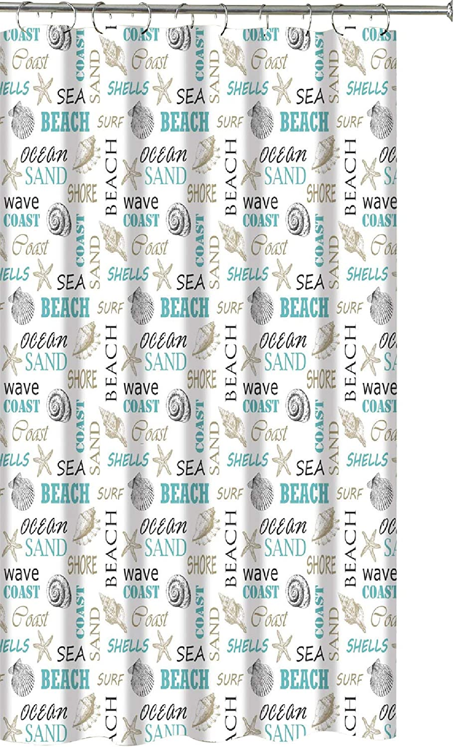 Tribeca Bath Collection Ocean Shells Theme Fabric Shower Curtain: Modern Decorative Typography and Pictorial Design