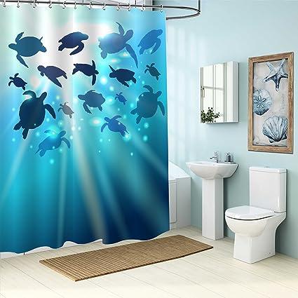 MitoVilla Ocean Themed Bathroom Accessories Turtle Swims In The Against Sun World