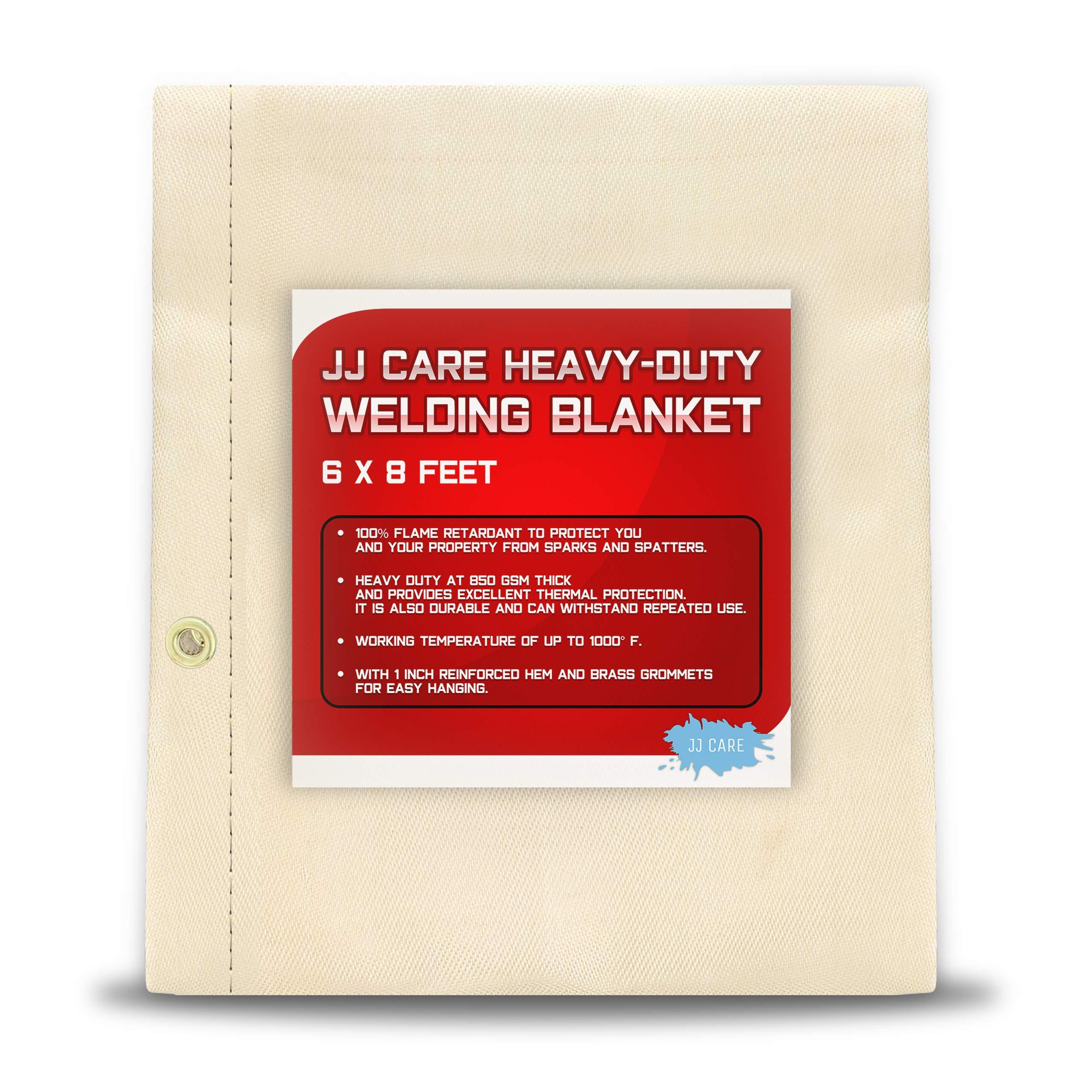 [PREMIUM] 6x8 ft Heavy Duty Welding Blanket [850GSM Thick] Fiberglass, Fire Retardant Welding Curtain, Weld Blanket, Welding Shield, Fire Blanket - JJ CARE by JJ CARE