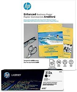 HP 312A Black Toner + HP Brochure Paper, Glossy, Laser, 8.5 x 11, 150 sheets, Enhanced