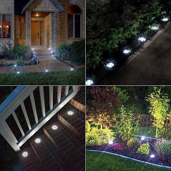 Luces Solares Exterior Jardin, BrizLabs 8 LED Luces de Tierra Solares Luz Solar Suelo Blanco Frío IP65 Impermeable Lamparas Solares Iluminacion para Terraza Camino Césped Patio, 8 Paquetes: Amazon.es: Iluminación