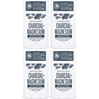 Schmidt's Deodorant Stick Charcoal + Magnesium 2.65 oz (Pack of 4) - Free of Aluminum, Vegan, Natural and Cruelty-Free
