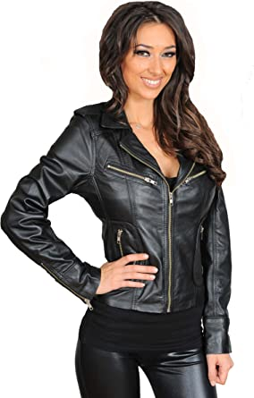 A1 FASHION GOODS Womens Designer Leather Biker Jacket Soft Black Fitted Quilted Zip Fasten Coat Bonita