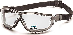 Pyramex Safety V2G Readers Eyewear, Black Strap/Temples, Clear +2.0 Anti-Fog Lens