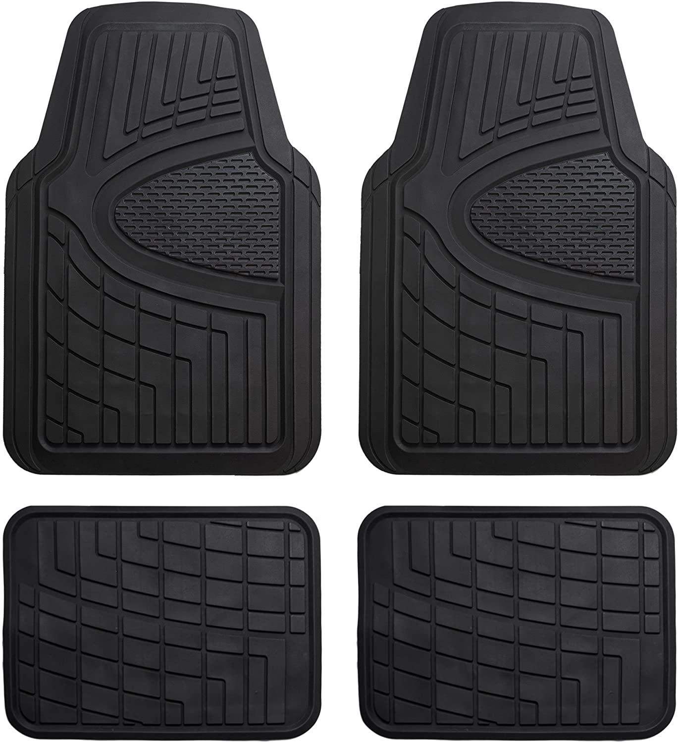 Amazon Com Fh Group Black F11311black Rubber Floor Mat Heavy Duty Tall Channel Full Set Trim To Fit Automotive