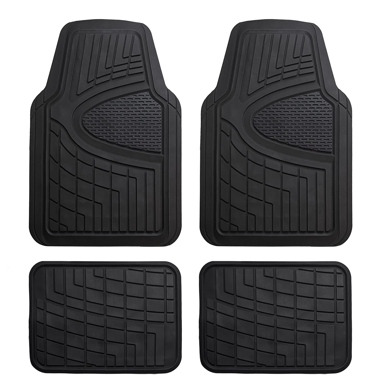 FH Group F11311BLACK Rubber Floor Mat(Heavy Duty Tall Channel, Black Full Set Trim to Fit)
