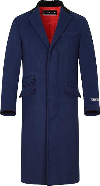 TALLA 48. Abrigo de lana azul marino y cachemira para hombre, cálido invierno, con cuello de terciopelo y forro de satén rojo