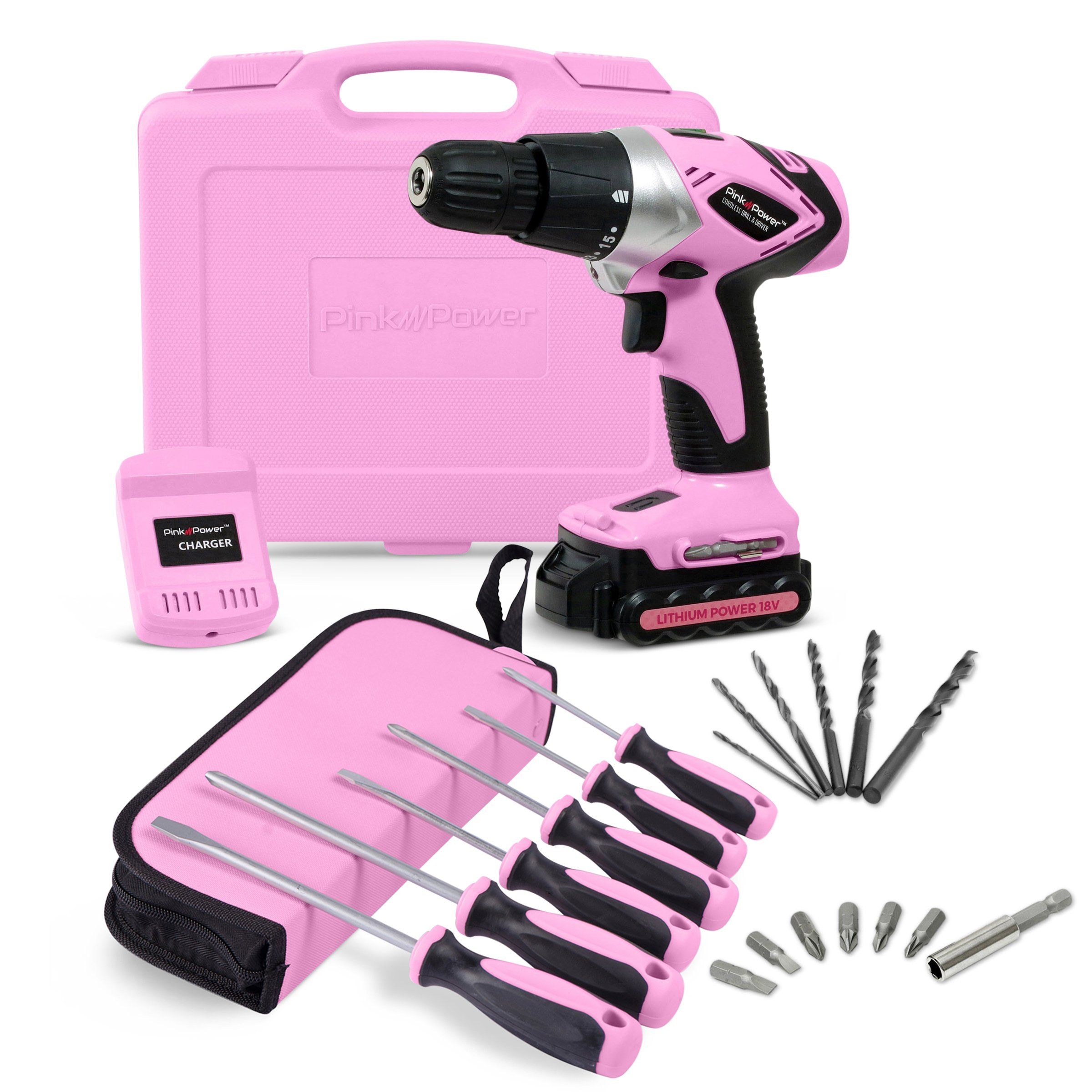 Pink Power PP181LI 18 Volt Lithium-Ion Cordless Electric Drill Kit & 6 Piece Screwdriver Set for Women