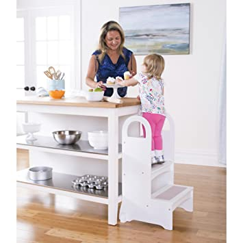 Guidecraft Kitchen Helper High Rise Step Up White Kids Step Stool With Handles Quality Wood Learning Furniture For Children