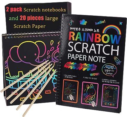 BENGKUI Scratch Art Note Book 2PCS Large Magic Color Rainbow Scratch Art Paper Bloc de Notas Totalmente Negro DIY Dibujo Juguetes para Colorear Pintura Ni/ños Doodle Regalo