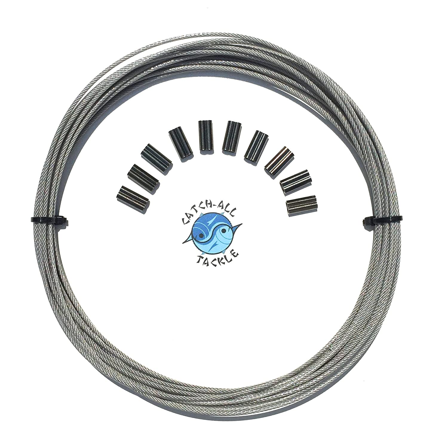 49-strand Cable Vinyl Coated 7x7 Stainless Steel Kit 30ft 275lb 1.2mm W/10 1.4mm Crimps