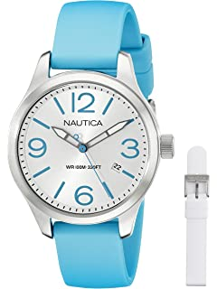 Nautica Womens NAI09502M BFD 101 MID Analog Display Quartz Blue Watch