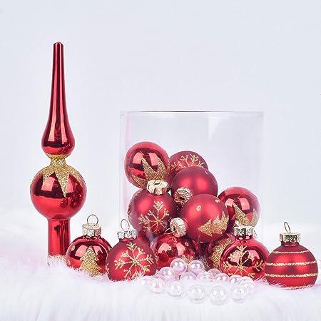 Christbaumkugeln Set Rot.Valery Madelyn 19 Stücke 3 14cm Weihnachtskugeln Glas Luxus Rot Und Gold Thema Christbaumkugeln Set Mit Aufhänger Und Weihnachtsbaumspitze Luxuriös