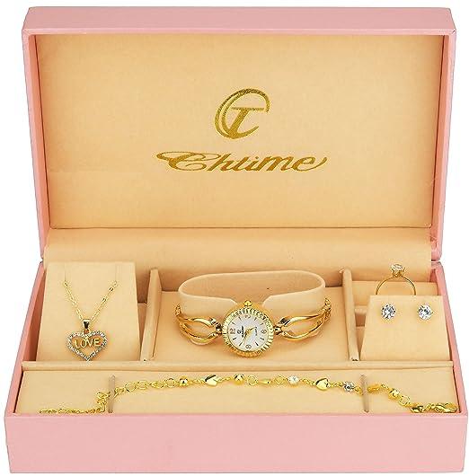 cd8574d962a9c Coffret Cadeau Montre Femme Blanc- Parure de Bijoux- Collier-Bague- Boucles  d