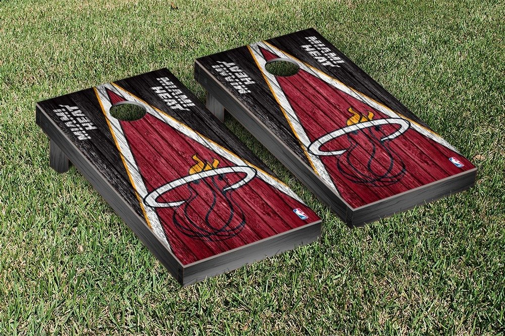 Miami Heat NBA Basketball Regulation Cornhole Game Set Triangle Weathered Version