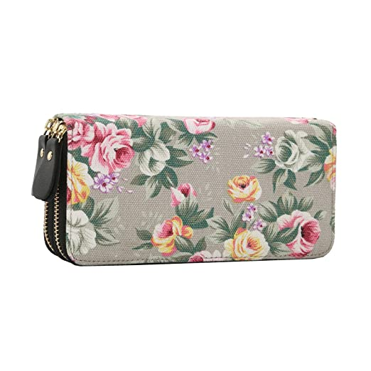 09ddbf7712b Women Floral Wallet Canvas Purse Zip Around Long Clutch Organizer Phone  Card Handbag with Wristlet