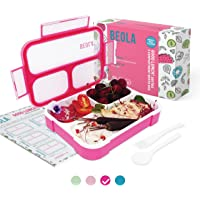 BEOLA Lunch Box for Kids Adults, Multi Compartment Lunch Bento with 40 Weeks Magnetic Meal Planner, 3 or 4 Compartment…