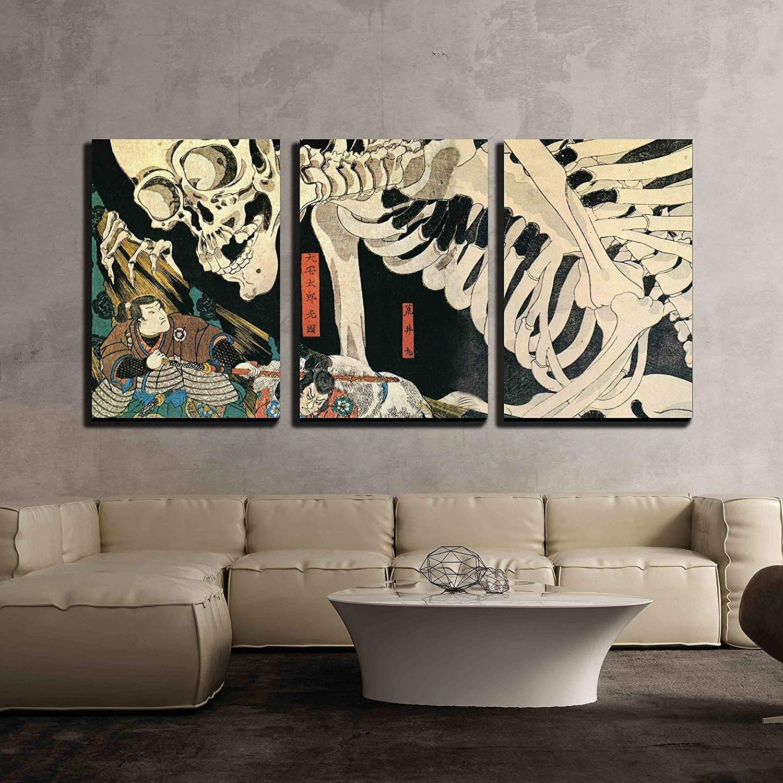 "wall26 - 3 Piece Canvas Wall Art - Utagawa Kuniyoshi - Takiyasha The Witch and The Skeleton Spectre - Ukiyo-E - Modern Home Decor Stretched and Framed Ready to Hang - 24""x36""x3 Panels"