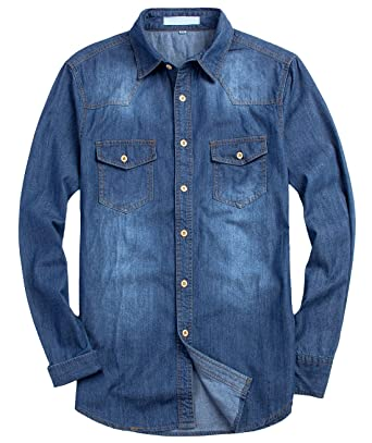 0feb4325672 chouyatou Men s Casual Long Sleeve Slim Fit Distressed Denim Button Up  Shirts (X-Small