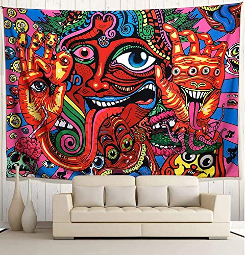 Wekymuu Trippy Tapestry Psychedelic Tapestry Hippie Tapestry Wall Hanging Colorful Arabesque Abstract Retro Pattern Tapestry Art Fantasy Magical Fractal Wall Tapestry for Bedroom 70.8 x 91
