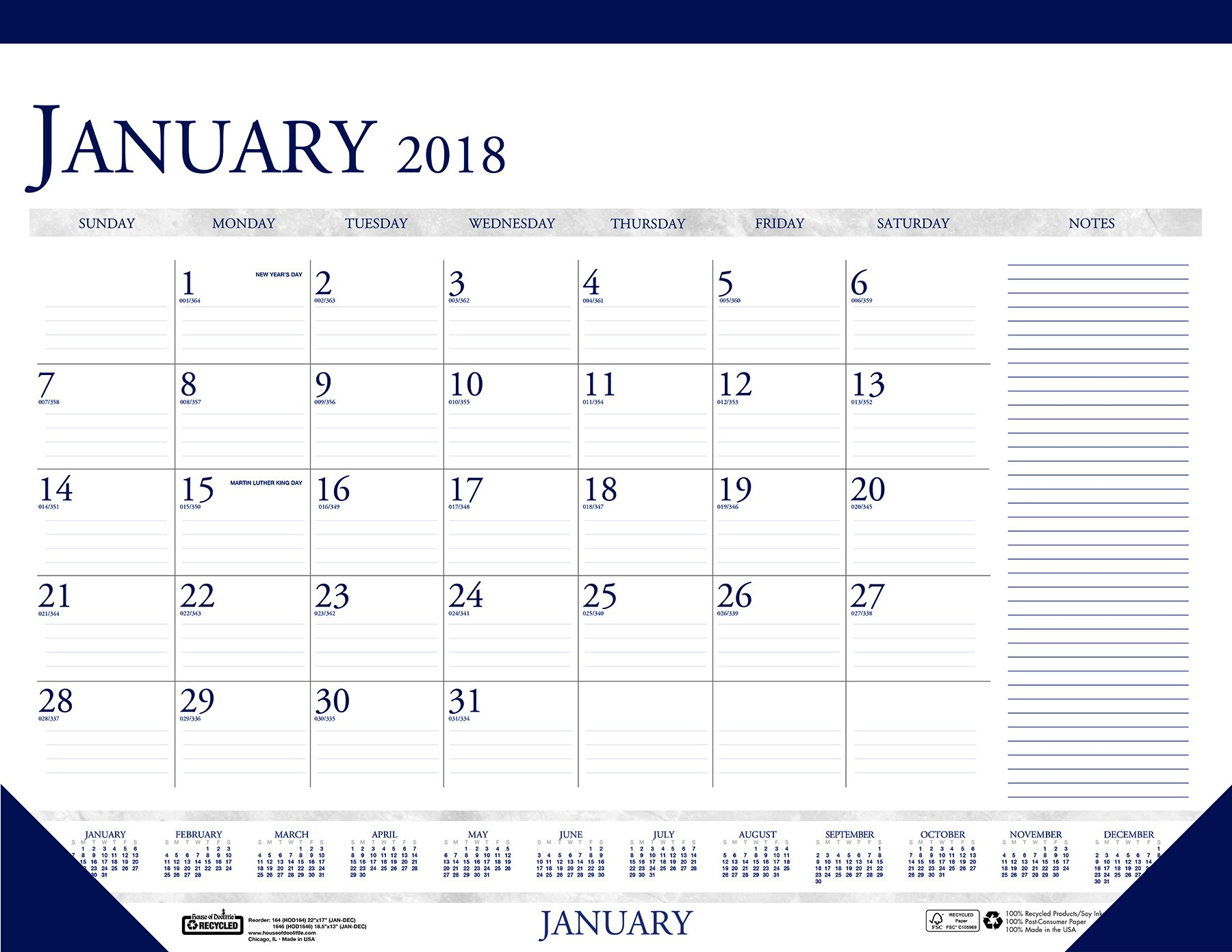House of Doolittle 2018 Monthly Desk Pad Calendar, Classic with Notes Section, 22 x 17 Inches, January - December (HOD164-18)