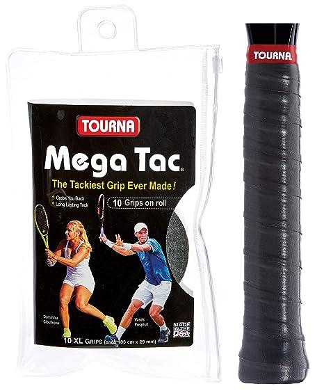 Tourna Mega TAC Grip - Raqueta de Tenis, Unisex Adulto, MT-10-XL-BK, Negro, 10-Pack