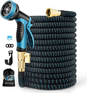 KETTOYA 100FT Expandable Garden Hose, Flexible Water Hose with 10-Pattern Spray Nozzle, Leak-proof Retractable Heavy Duty, 4-layer Latex Core, Durable 3750D, 3/4 Solid Brass Connectors, Kink-Free