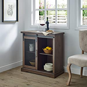 WE Furniture AZF32ALMDDW Industrial Farmhouse Buffet Entryway Bar Cabinet Storage, 32 Inch, Walnut Brown