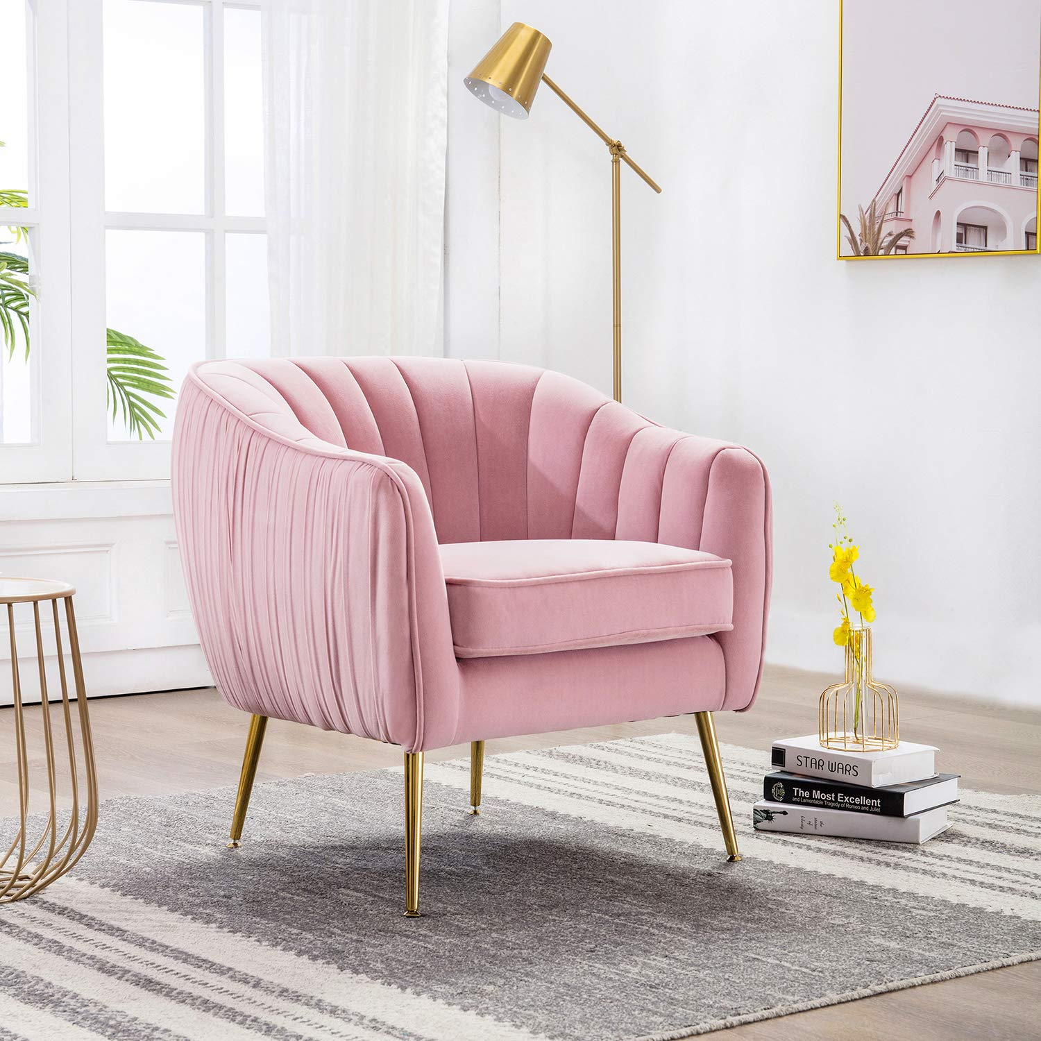 Altrobene Modern Luxury Accent Barrel Chair, Velvet Living Room Armchair with Gold Finished Legs, Pink
