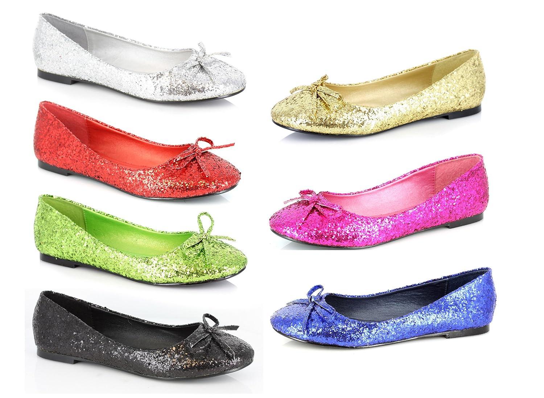 Fuchsia w//Glitter ELLIE 016-MILA-G Adult Glitter Flat With Bow Womens Shoes 10 Size