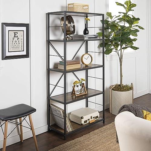Walker Edison Furniture AZS60RMWRO 4 Shelf Rustic Wood Metal Bookcase Bookshelf Storage