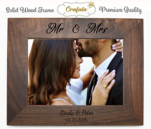 Amazoncom Mr Mrs Wood Personalized Frame Custom Engraved Wood