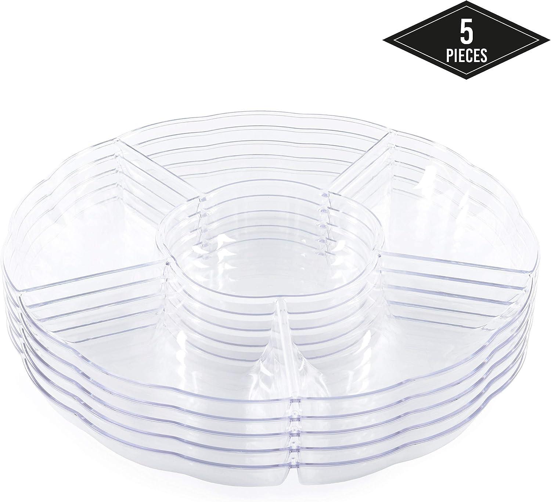 5 Bandejas Compartimento de Plástico Duro con 6 Secciones, Redondo y Transparente, 30.5cmx11.6cm - Desechable y Reutilizable - Robusto y Apto para Lavavajillas - Aperitivos Bocadillos de Fiestas