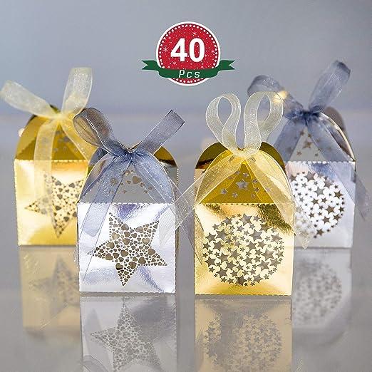 Naler 40 Caja de Regalo Caja de Caramelo Dulces Boda Fiesta Bautizo Comunión Navidad Color Dorado y Plateado (5x5x7,5cm): Amazon.es: Hogar