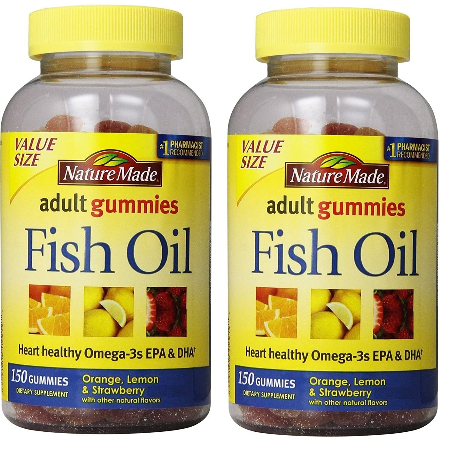 Nature Made Fish Oil Adult Gummies Nutritional Supplements, Value Size, 150 Count (Pack of 2) Packaging may vary