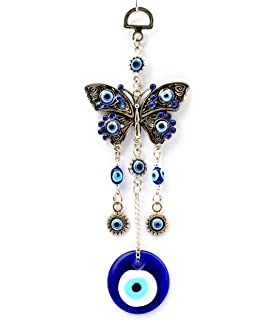 Blue Evil Eye With Butterfly Hanging Decoration Ornament ( With A  Betterdecor Pouch) 003