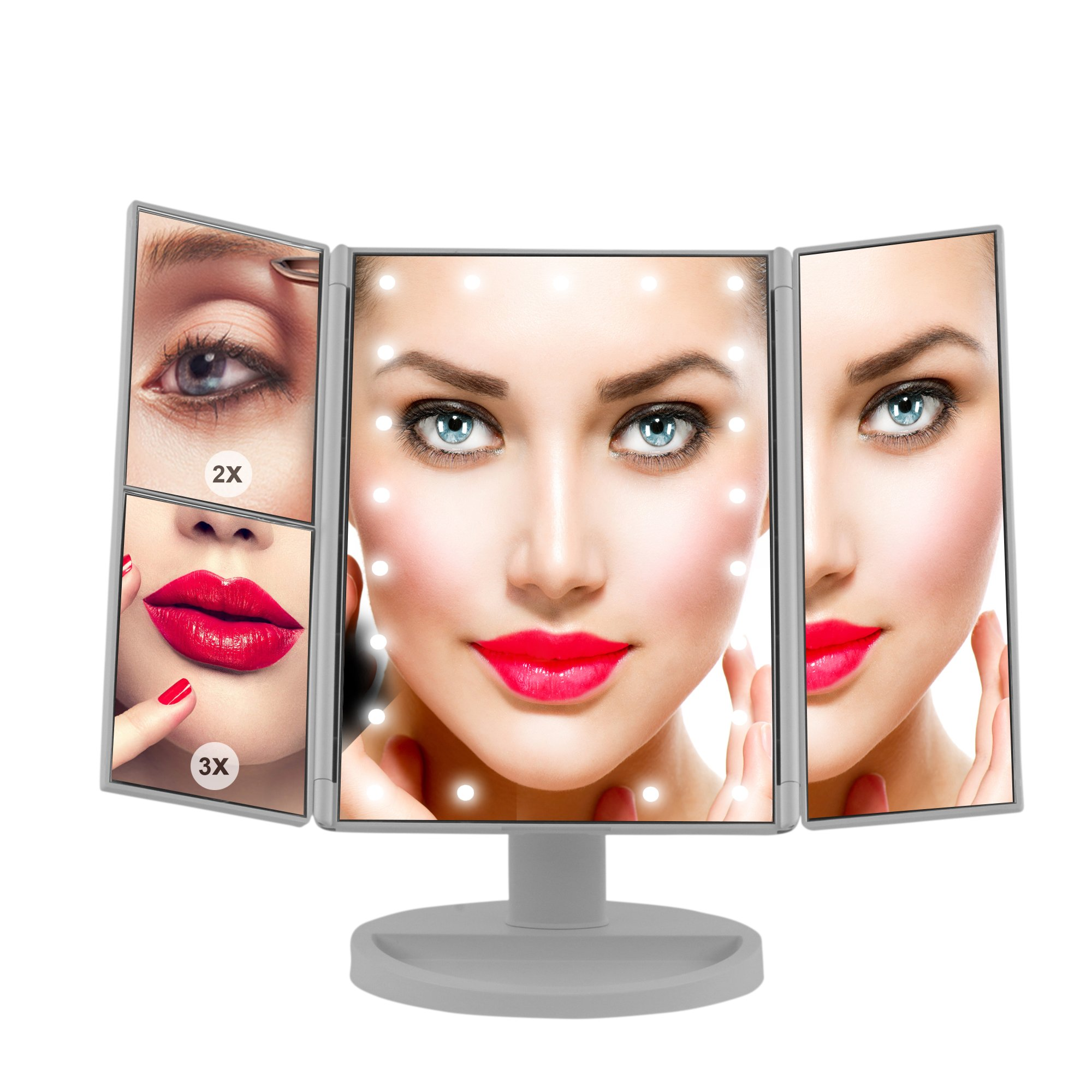 Makeup Mirror, LED Vanity Mirror with 21 LED Lights – 3X/2X Magnifying Tri-Fold Countertop Cosmetic Mirror for Bedroom, Bathroom. Portable Design, Touch Screen and 180° Adjustable Rotation
