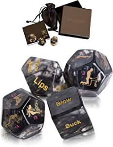 Dalliance Adult Upscale Sex Dice Including 34 Position Instructional Booklet | Sex Games Couples, Beautifully Packaged to Make The Black. Gift Boxed.