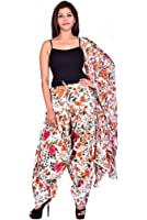 BILOCHI'S Women Printed Solid Cotton Full Orange Patiala Salwar Dupatta Set(Free Size,Multi Color)