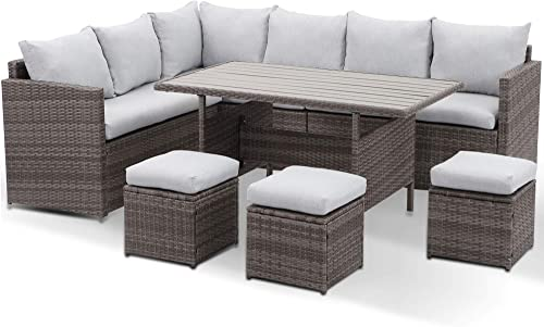 Wisteria Lane Patio Furniture Set,7 Piece Outdoor Dining Sectional Sofa Couch