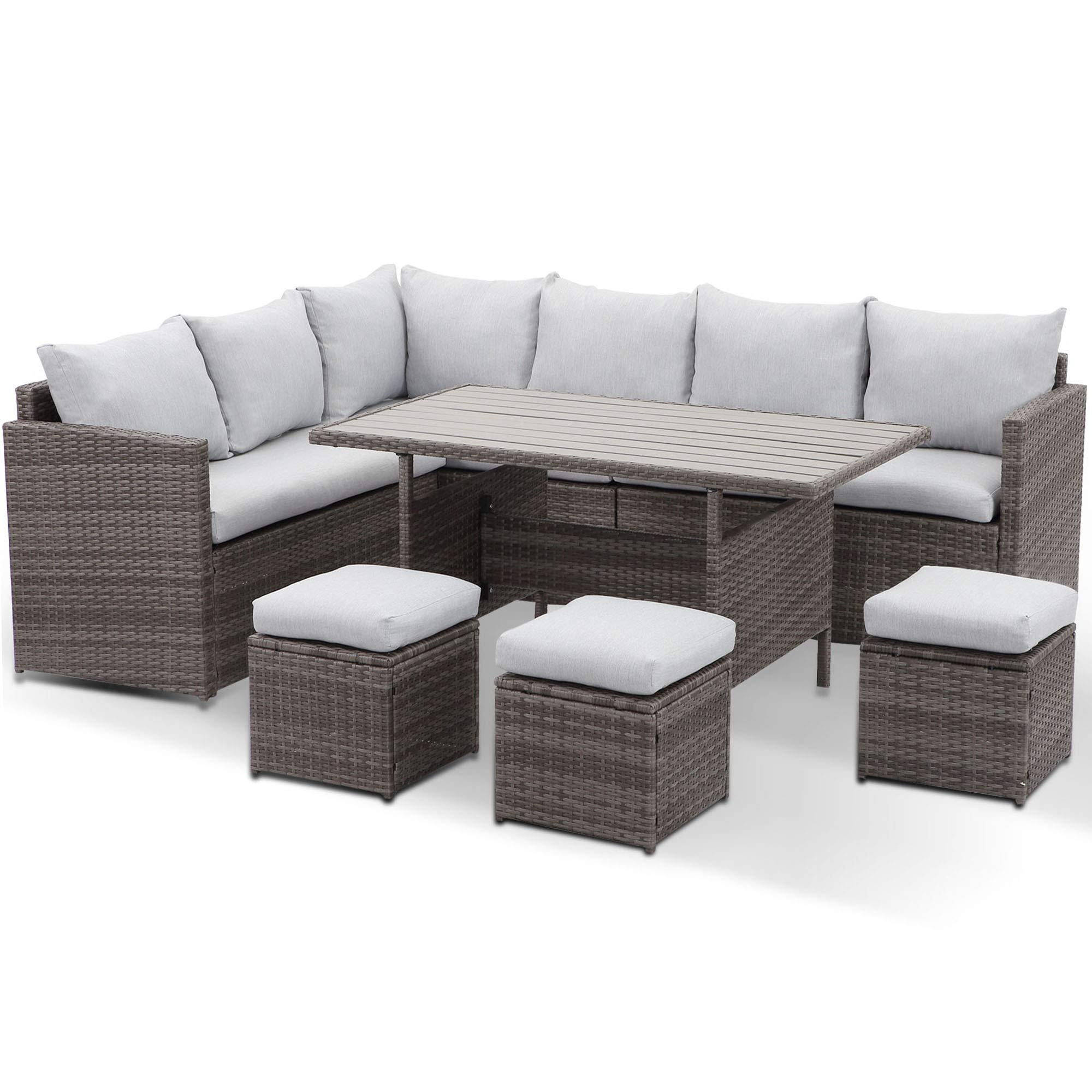 Wisteria Lane Patio Furniture Set 7 Piece Outdoor Dining Sectional Sofa Couch With Dining Table And Chair All Weather Deck Wicker Conversation Set With Cushion Grey Buy Online In Mongolia At Mongolia Desertcart Com Productid