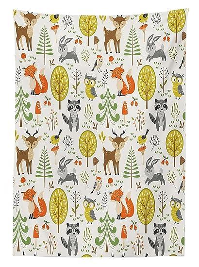 Kids Decor Tablecloth Woodland Forest Animals Trees Birds Owls Fox Bunny  Deer Raccoon Mushroom Home And