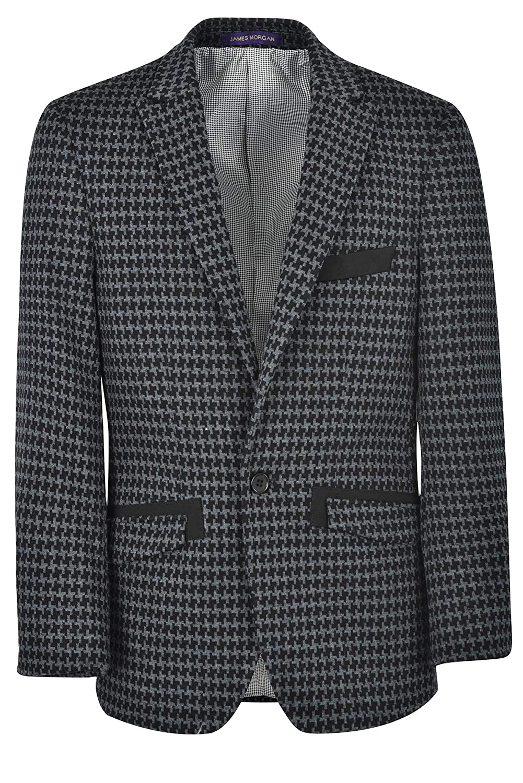 JAMES MORGAN Boys Houndstooth Pattern Blazer Formal Suit Jacket
