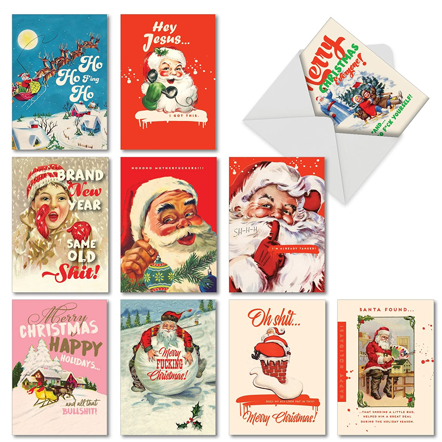 Amazon Very Merry O D Assorted Box of 10 Funny Christmas
