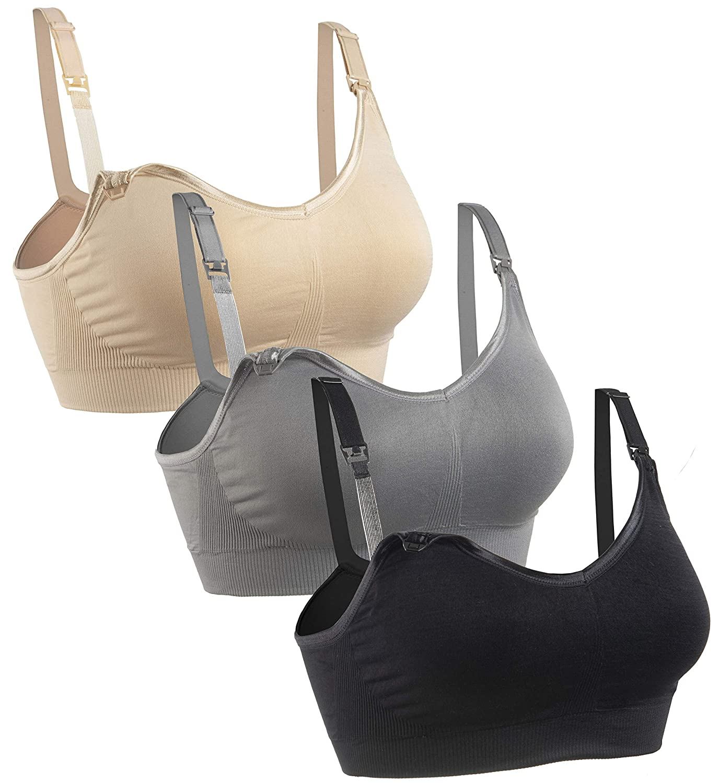Gratleaf Nursing Bra,3Pack Womens Maternity Breastfeeding Bra Wireless Sleeping Bralette with Extenders