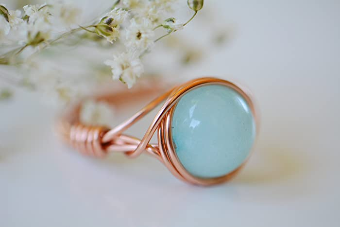 Amazon.com: Copper Wrapped Light Jade Wire Wrapped Custom Ring: Handmade