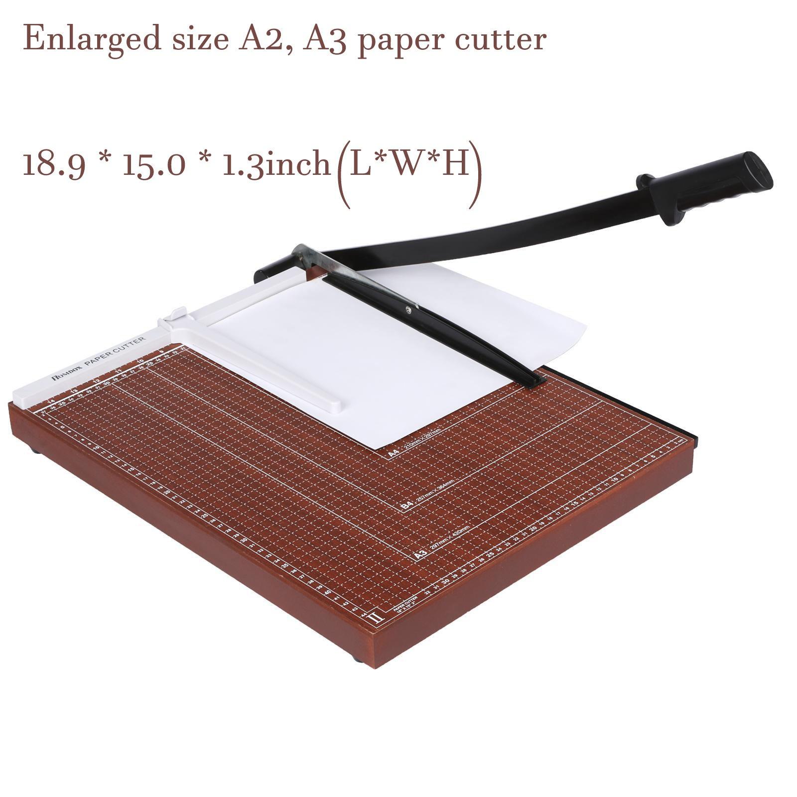 Professional Office Home Guillotine A2 A3 Paper Cutter Black Steel Durable Accurate Desk Tops Paper Cutter Trimmer Scrap Machine (Red, 18.9 x 15.0 x 1.3inch)