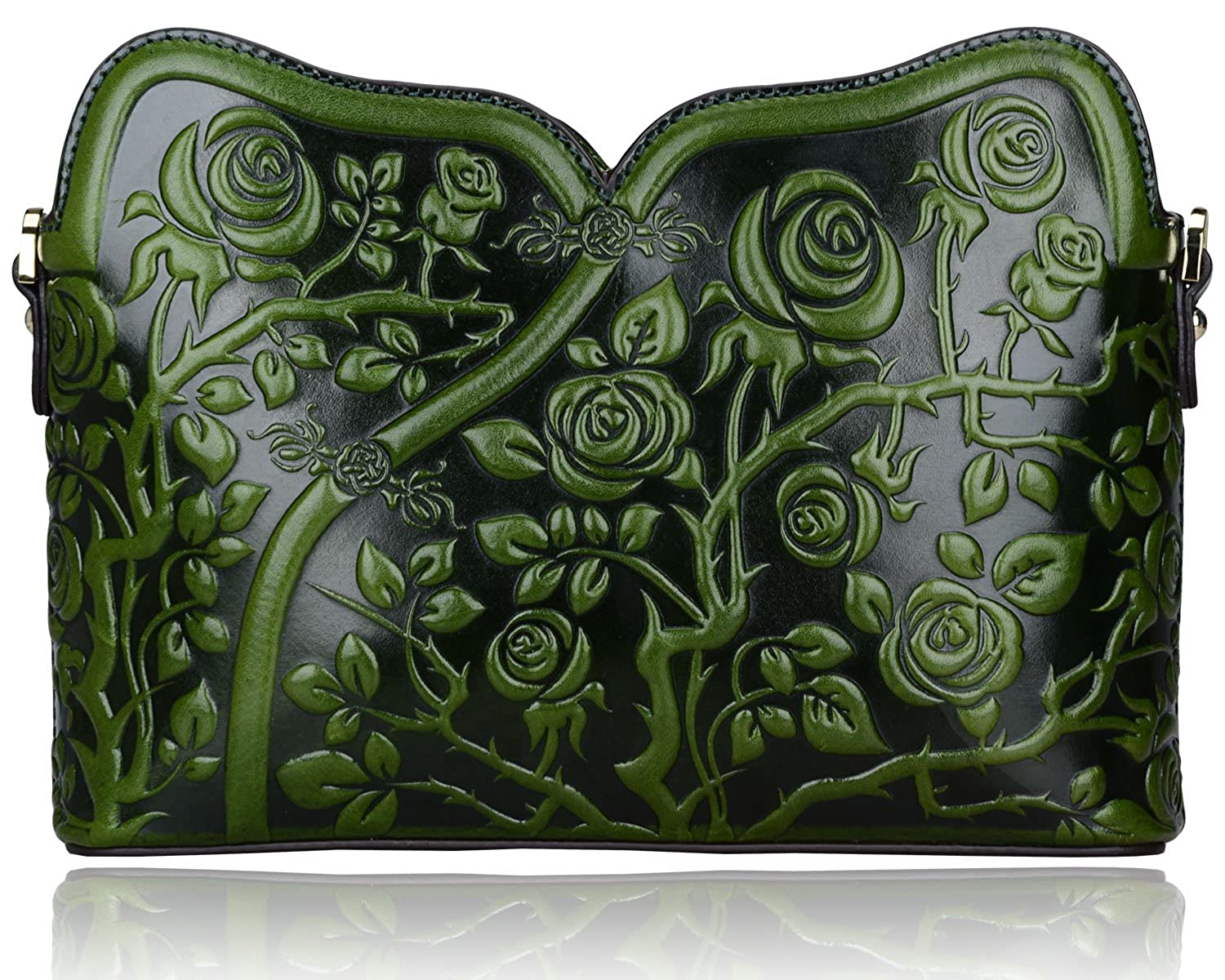 Pijushi Designer Floral Collection Leather Rose Clutch Handbags 22356